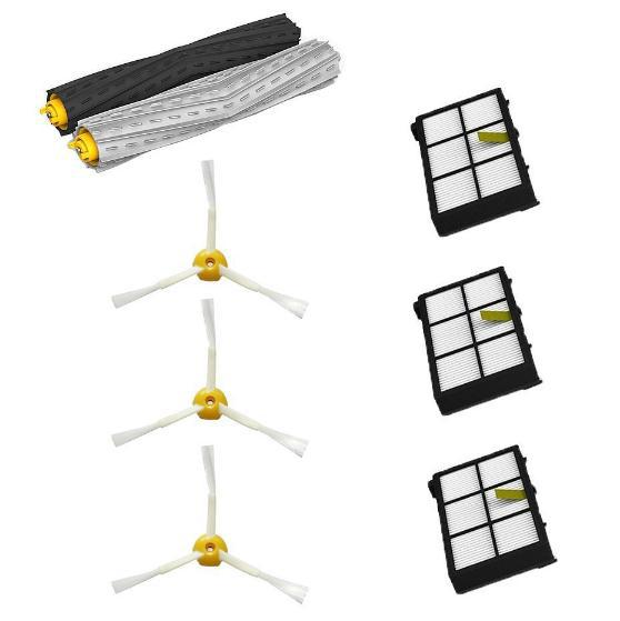 1 set Debris Extractor Brush + 3 Heap filter + 3 side brush kit for iRobot Roomba 800 900 860 864 870 880 980 replacement parts 2 set tangle free debris extractor 4 hepa filter 6 side brush fit for irobot roomba 800 900 series 870 880 980 cleaner parts
