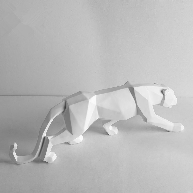 Funny Modern Abstract Black Panther Sculpture Geometric Resin Leopard Statue Wildlife Decor Gift Craft Ornament TV Cabinet In Action Toy Figures From