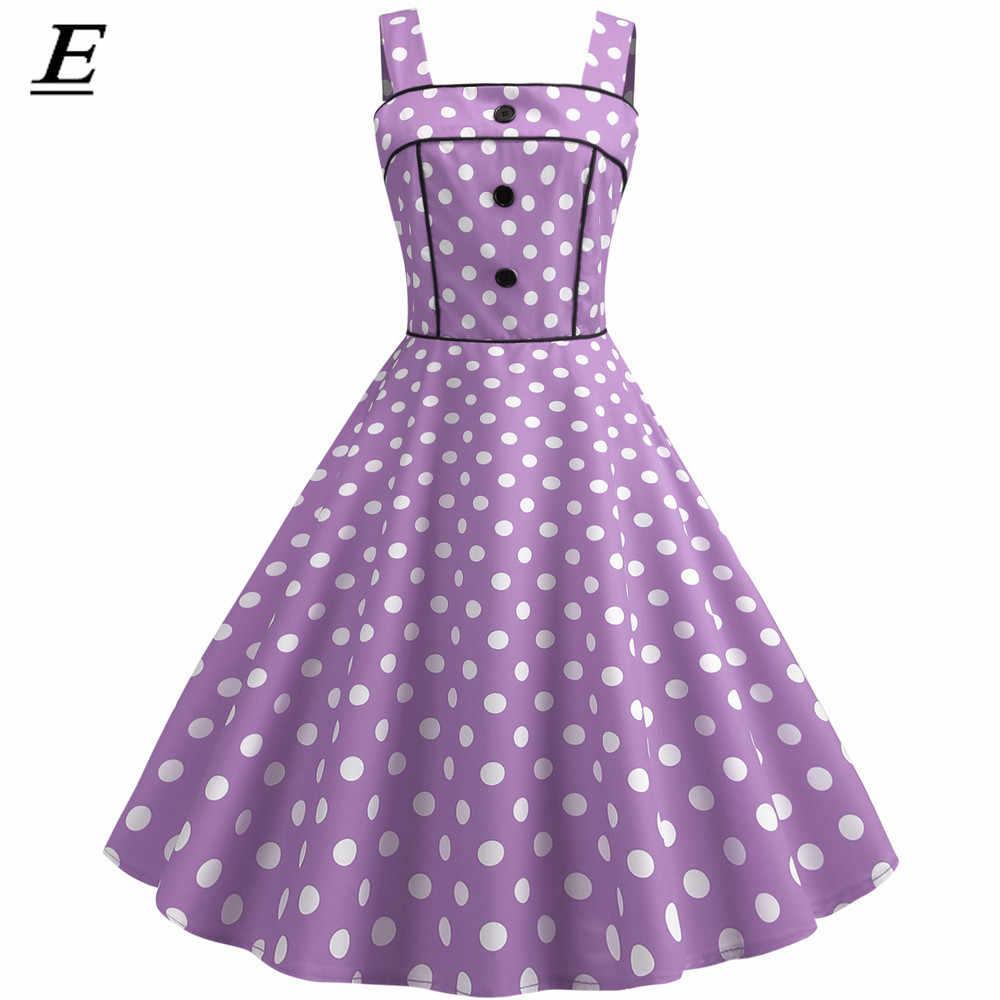 Seksi Retro Pink Polka Dot Dress 2019 Audrey Hepburn Vintage Gaun Pesta 50 S 60 S Gothic Pin Up Rockabilly gaun Plus Ukuran Jubah