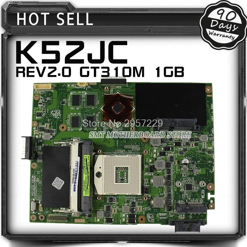 K52JC K52JR Laptop Motherboard Mainboard for ASUS K52JR K52JT K52J K52JC A52J X52JC GeForce 310M 1GB DDR3 S-6 k52jr rev 2 0 2 2 hd5470 1gb motherboard for asus k52je a52j x52j k52ju k52jt k52jc k52j laptop original notebook motherboard
