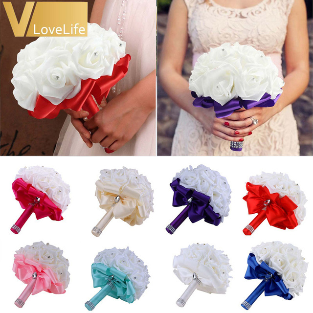 Wedding Bouquet Holder Bridesmaid Artificial Flower Roses Bridal ...