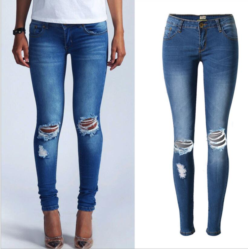 New Style Hole feet pants large size jeans female trousers pencil pants wholesale in stretch ...