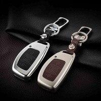 High Grade Zinc Alloy Leather Car Key Case For Hyundai Santa Fe IX45 I30 Sonata Elantra