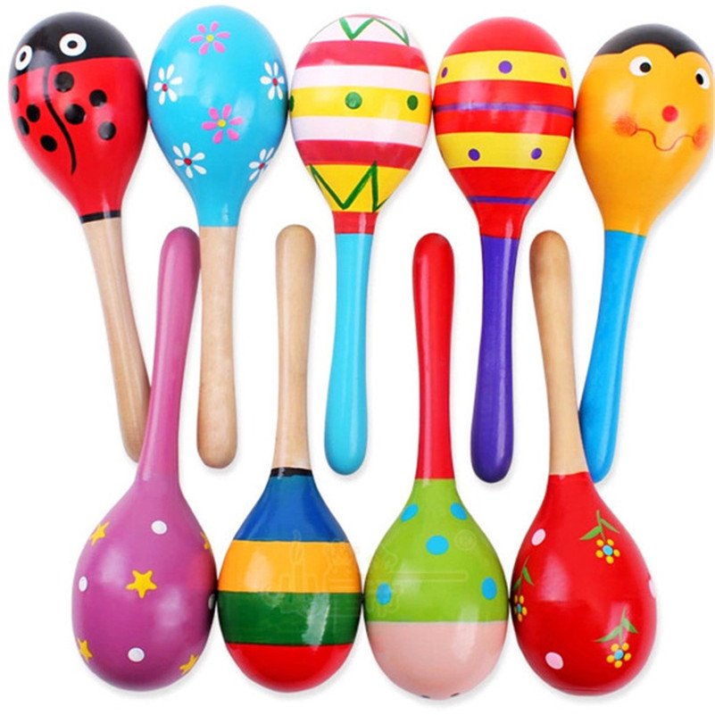 1 pcs kids wooden ball rattle toy sand hammer rattle educational learning musical instrument percussion for