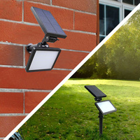 BORUiT 48 LED Solar Lamp Waterproof Outdoor Garden Lawn Lamp 5 Mode Yard Hallway Wall Light