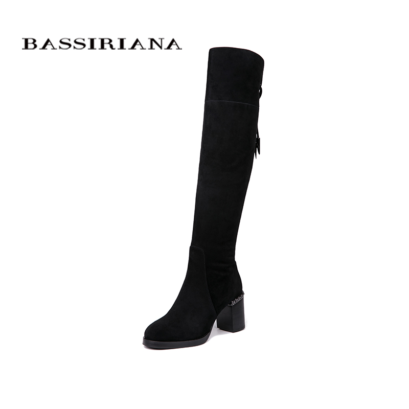 BASSIRIANA New Over-the-knee Genuine leather boots women Winter shoes woman Black Grey suede Zip 35-40 High quality bassiriana knee high boots suede women winter shoes for woman comfortable high heels shoe 35 40 free shipping