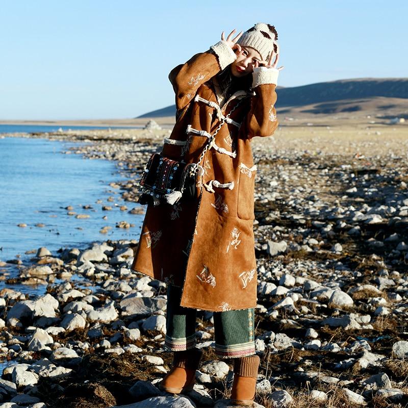 Оригинальный Дизайн 2017 новое поступление этнической вышивкой замшевые овечьей шерсти пальто винтажные длинные негабаритных зимняя куртка...