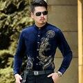 2016 Tuxedo Shirts Mens Stand Collar Shirts Chinese Camisa Social Slim Fit Black Corduroy Velvet Shirts Men Dragones Flannel 3XL