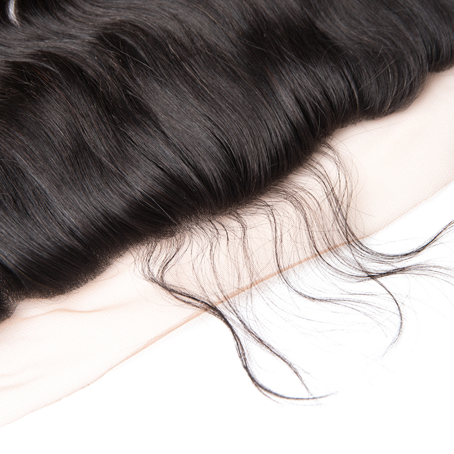 Wonder Girl 13x4 Brazilian Body Wave Snörning Frontal Closure With - Mänskligt hår (svart) - Foto 5