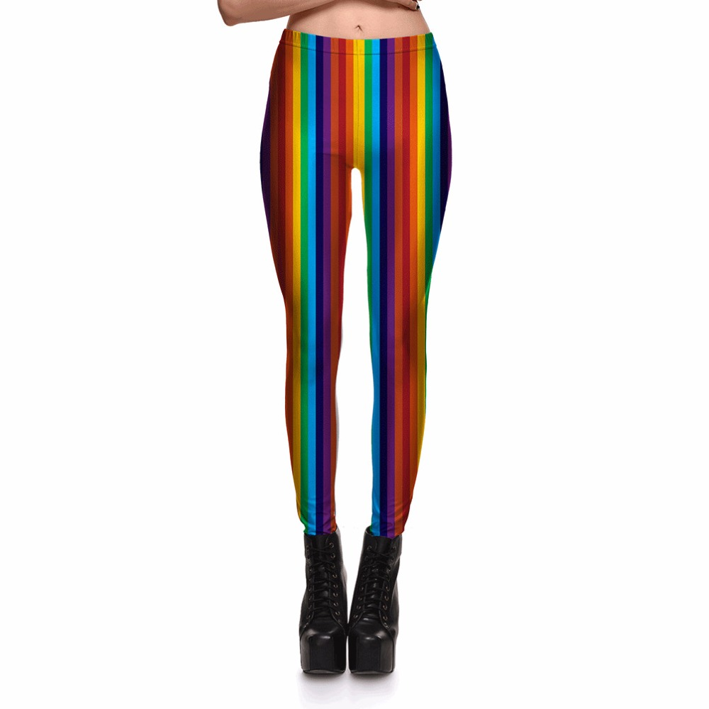 New 3769 Sexy Girl Slim Ninth Pants coloured ribbon Rainbow Stripes Printed Stretch Fitness Women Leggings Plus Size ...