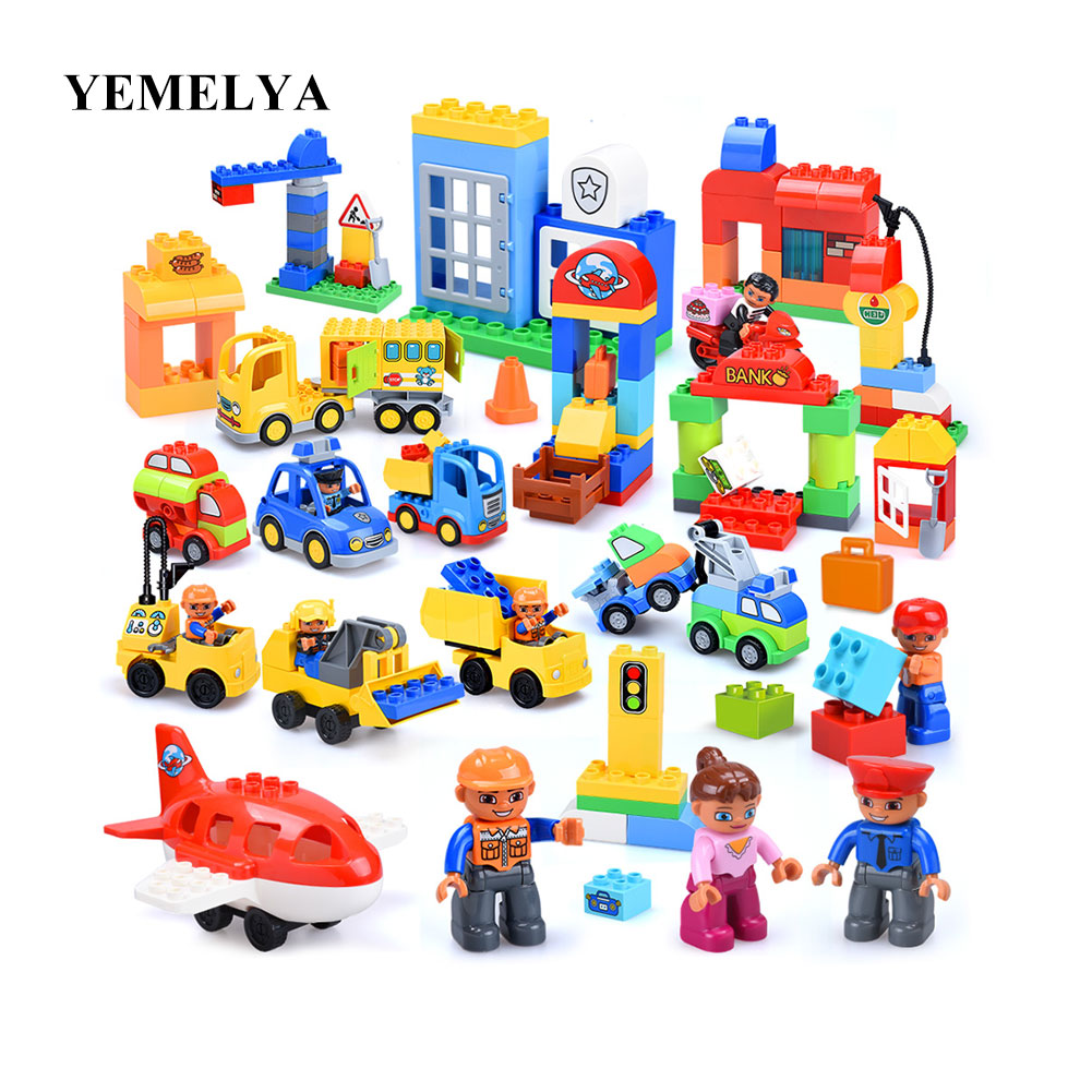37P LargeCity Series Police Station Fire Station Construction Team Model Large Size Building Block Toy Compatible Duplo Kid Gift npl p 43 37 купить