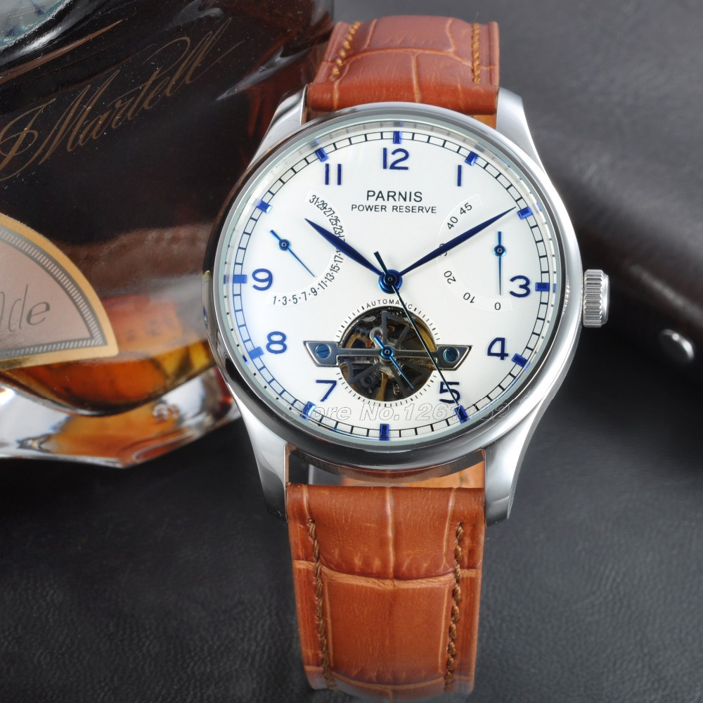 Wristwatches 43mm Parnis Seagull Power Reserve Watch White Dial Blue Numbers Automatic Men's Watch PA4305SW