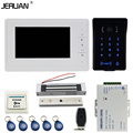 JERUAN 7`` video doorphone intercom system Kit New RFID waterproof Touch Key password keypad Camera remote control Magnetic lock