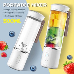 AUGIENB 500ml Electric Fruit Juicer Glass Mini Portable Handheld Smoothie Maker Blenders Mixer USB Rechargeable for Home Travel