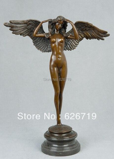 Fresh ATLIE BRONZES Greek Mythology nude Angel art Figurines Winged Lady  CF95