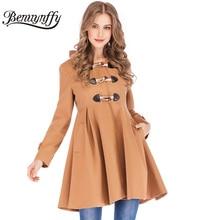Benuynffy женское винтажное шерстяное пальто трапециевидной формы с высокой талией осеннее зимнее женское повседневное пальто с капюшоном и длинным рукавом