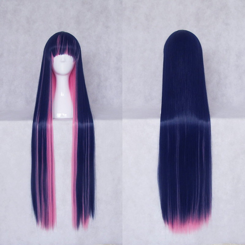 Panty & Stocking with Garterbel 100cm blue Pink Fusion Long Straight Hair Heat Resistance Cosplay Costume Wig + Wig Cap