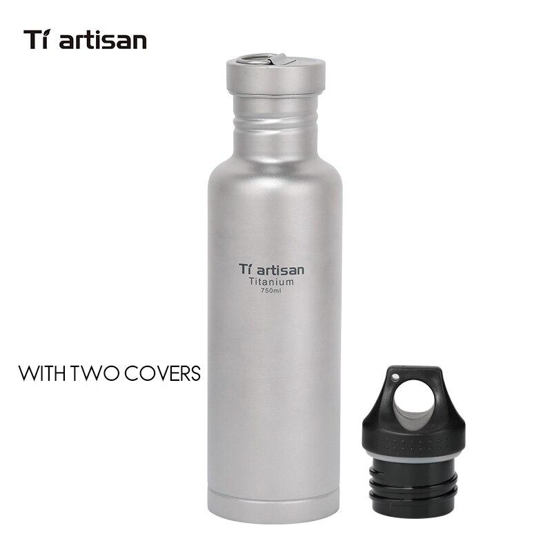 Tiartisan Titan Radfahren Wasser Sport flasche 750 ml Leichte Camping Drink mit Titan deckel und kunststoff deckel Ta8388