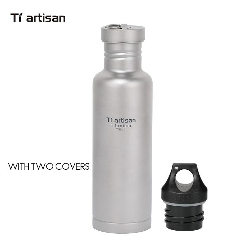 Tiartisan titane cyclisme eau Sport bouteille 750 ml léger Camping Drinkware avec couvercle en titane et couvercle en plastique Ta8388