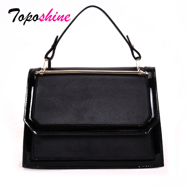 Patent Leather Hit Color Classic Personality Handbag New Fashion Wild Casual Temperament Shoulder Messenger Bag