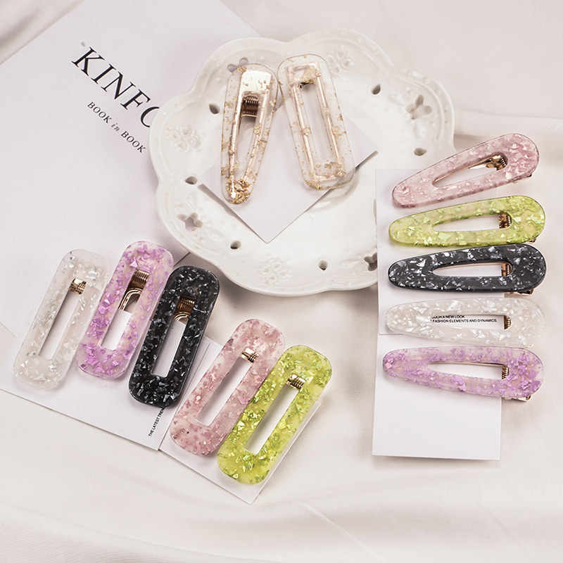Acrylic Hollow Water Drop Rectangle Hair Clips For Women And Girls Tin Foil Sequins Hairpins Headband Barrettes Hair Accessories