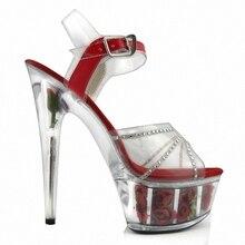 Благородные сексуальные розовые ребрышки, сандалии на высоком каблуке 15 см, прозрачная обувь для танцев с кристаллами
