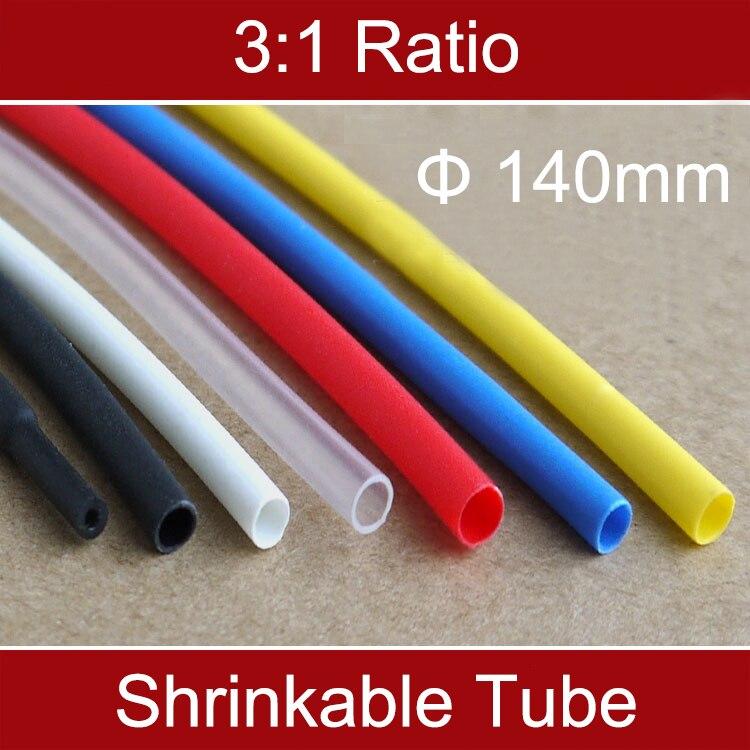 1 m Ratio 3:1 140mm À Double Paroi Noir Isolé Étanche Thermosol Colle Adhésif Doublé Manches Thermorétractable Shrinlable Tube