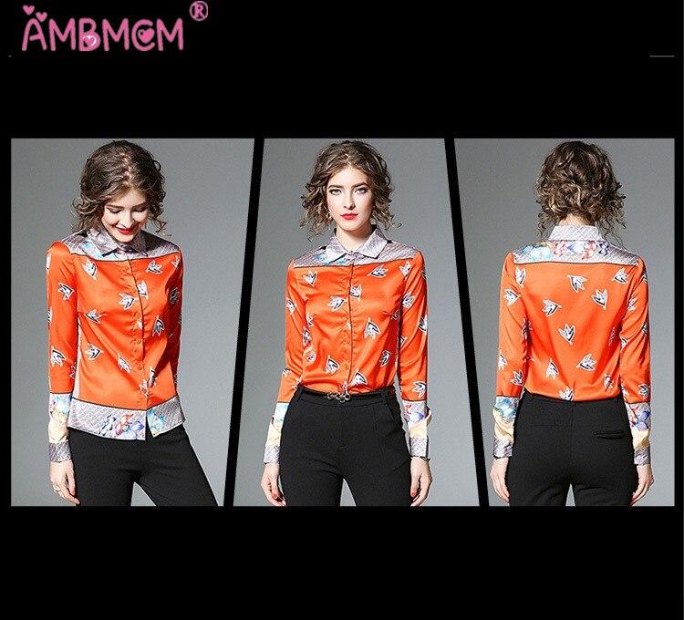 Imprimé Vintage Orange Mode Causal Piste Blouse Rétro De Femmes Blouses Shirt Nouvelle Marque Chemise À Longues Ambmcm Tops Manches menthe 8qIWxFpU