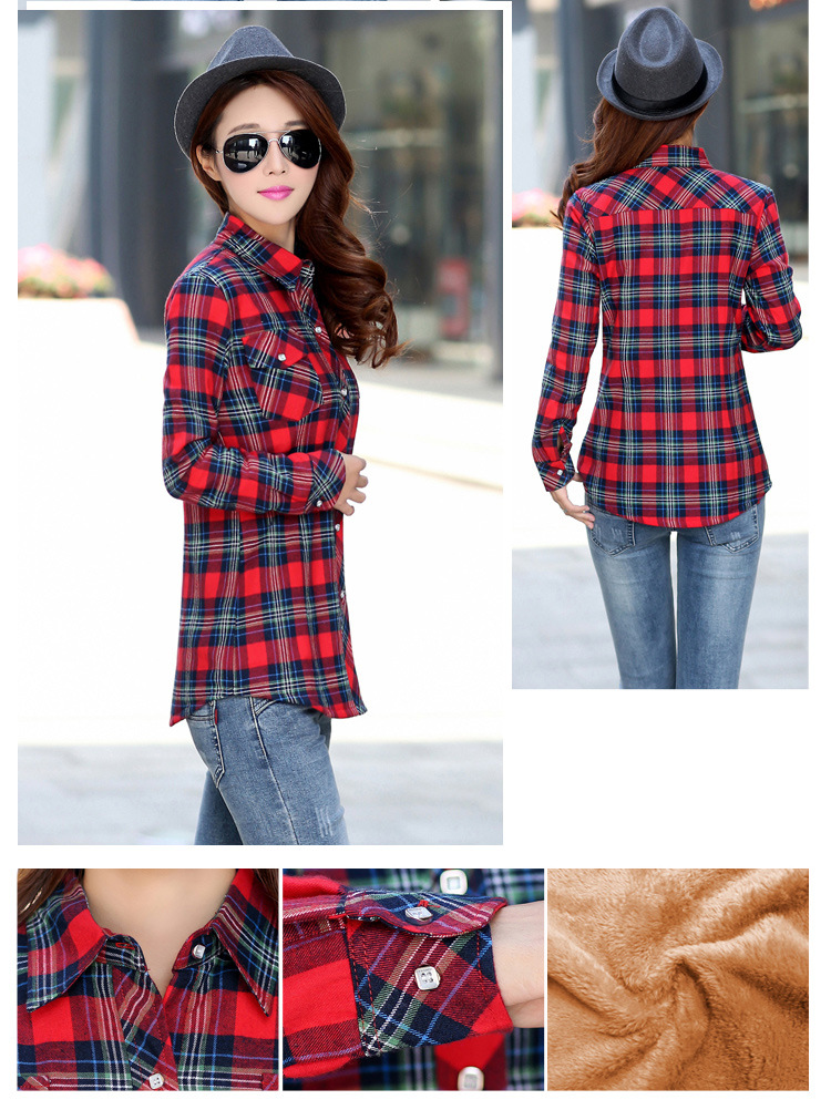19 Brand New Winter Warm Women Velvet Thicker Jacket Plaid Shirt Style Coat Female College Style Casual Jacket Outerwear 10