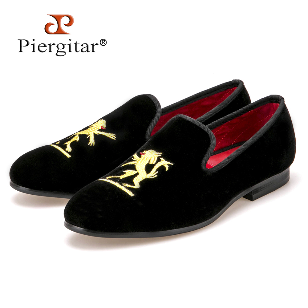 Lion embroidery Velvet Men shoes Men Plus Size Loafers Men wedding Shoe Men Flats Size US4