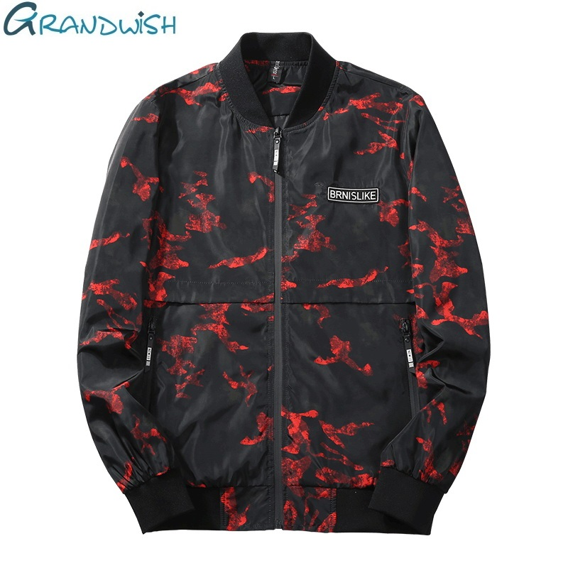 Wilngo Men Winter Thicken Faux Fur Hooded Floral Print Bomber Jacket Baseball Jackets