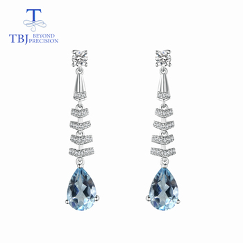 TBJ,sky blue topaz earring natural gemstone pear 6*9mm 925 sterling silver classic design fine jewelry for lady anniversary gift