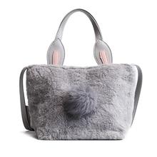 e6757b599bb0 Autumn Winter New Funny Rabbit Ears Plush Bucket Bag Hair Ball Sweet Women  Shoulder Messenger Bag