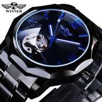 Winner Black Stainless Steel Fashion Men's Blue Hands Top Brand Luxury Mechanical Watch