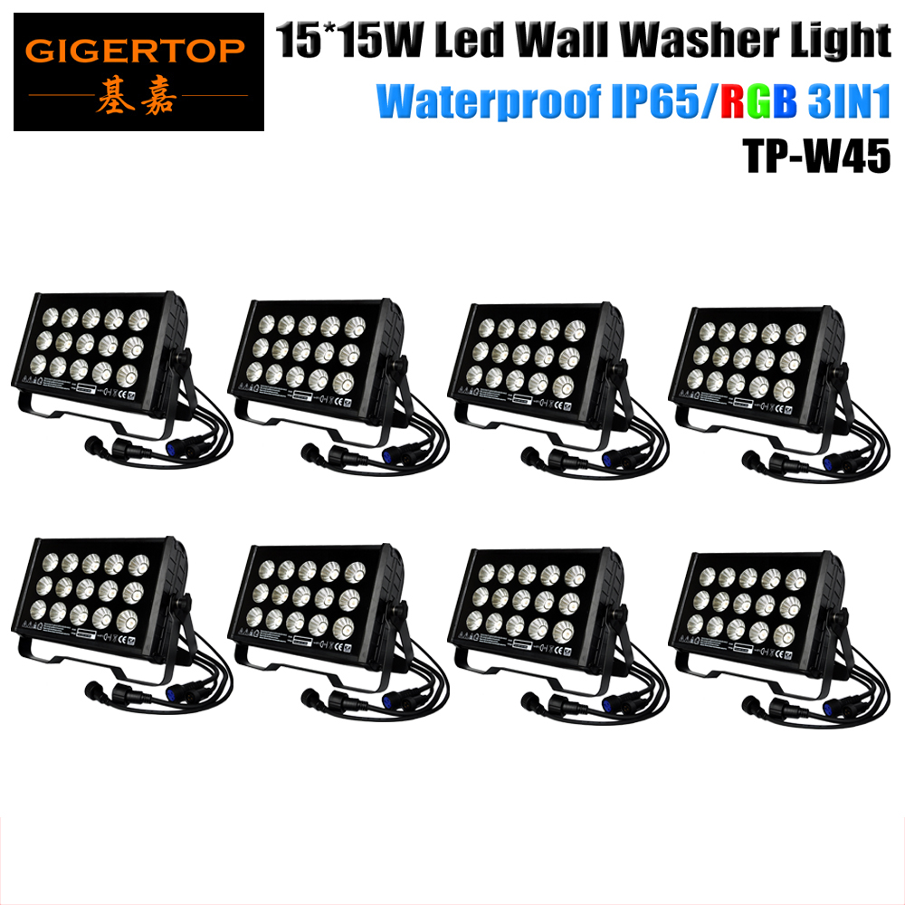 Discount Price <font><b>8</b></font> <font><b>Pack</b></font> 15X15W 3in1 Outdoor City Color Led Wall Washer <font><b>Light</b></font> DMX512 Red/Green/<font><b>Blue</b></font> Linear Dimmer Big Reflector <font><b>Cup</b></font>