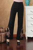 High Quality Black Women Embroidery Pant Autumn Winter Full Length Pants Flare Trousers Flower Oversize M 4XL 2513 1