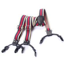 Men's Retro Y Shaped Cloth Accessories Elastic Suspenders 6 Folder Leather Suspenders Adjustable Belts Straps Braces For Pants