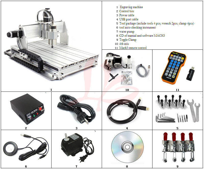 Duty free to RU CNC 6040Z-USB 4 axis mini CNC engraving machine with mach3 remote control milling lathe eur free tax cnc 6040z frame of engraving and milling machine for diy cnc router