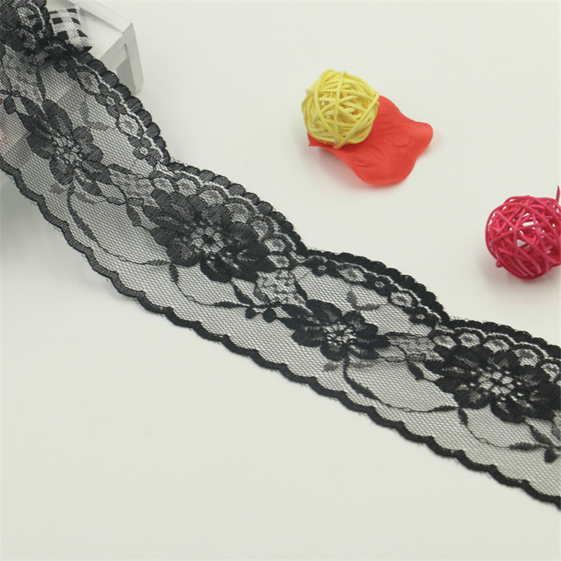 3Yards Elastic Lace Trim Floral Ribbon Embroidered Sewing DIY Wedding Craft Deco