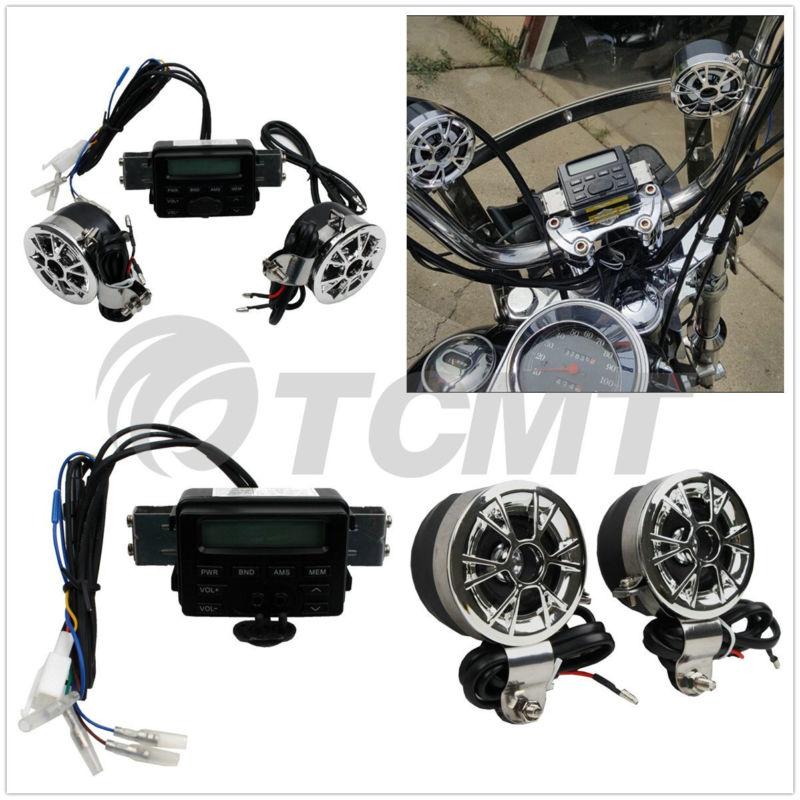 Motorcycle Sound System Handlebar <font><b>Mount</b></font> 2 Speakers FM Radio Audio MP3 Stereo 12V for Harley Kawasaki Yamaha Honda Bike
