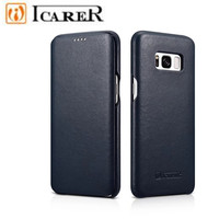 ICARER Colorful High Quality Luxury Case For S8 Real Cowhide Leather Filp Cover Case For Samsung