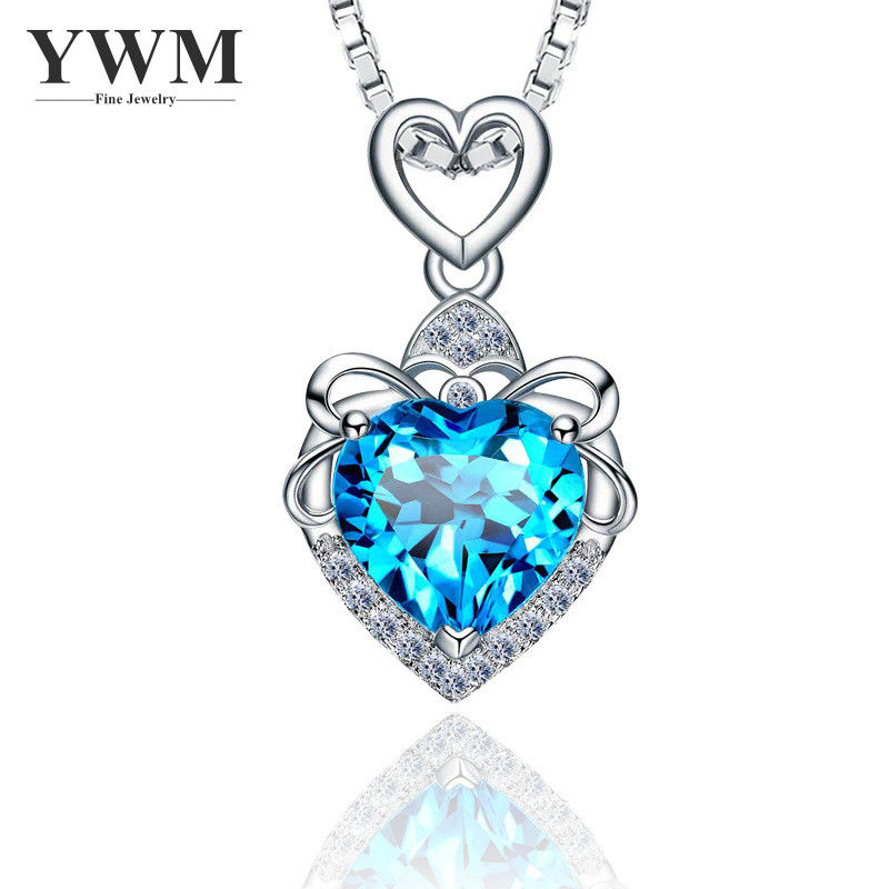 YWM JEWELS 100% Sterling Silver 925 Love my life Pendant Necklace with Natural Purple crystal Double love Style Jewelry 2018 New