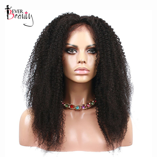 Brazilian Lace Front Human Hair Wigs Ever Beauty Non-remy Hair Wigs 4B/4C Afro Kinky Curly Pre Plucked Front Lace Wigs