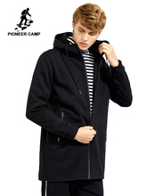 Pioneer Camp long thick fleece men coat brand clothing solid black hooded jackets male quality 100% cotton outerwear AJK702352