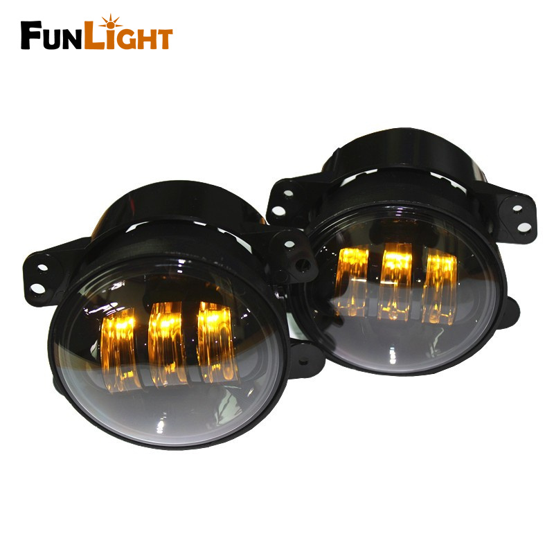 1Pair Yellow Color 4 inch Led fog Lamp For Jeep Wrangler 1997-2016 JK TJ LJ Off Road Fog Lamps pair j183b lantsun front seat headrest handle rear seat grave black handle for jeep wrangler jk tj 4x4wd off road accessories