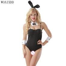 Пикантные черные сапоги кролик костюм кролика для девочек корсет Ползунки Костюм Хэллоуин Косплэй нарядное платье Размеры xs-l Woaixdd сексуальное женское белье