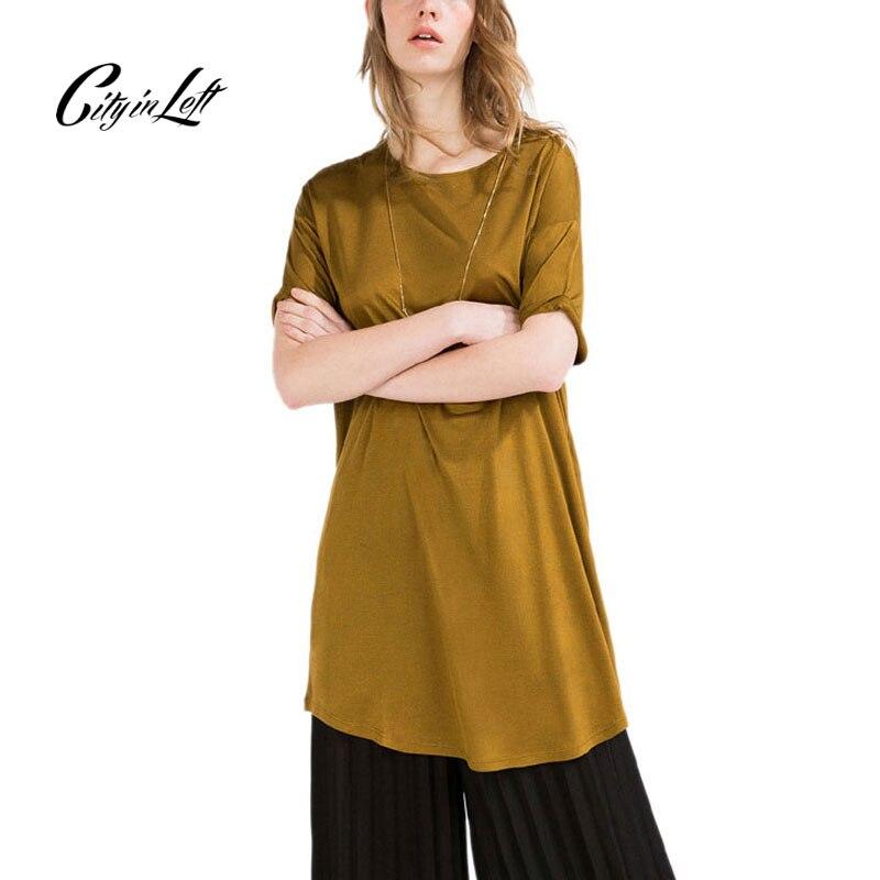 Camiseta color cuello mujer moda 2018 manga Ciudad amarillo Camisetas largo estilo 1118 mujeres Tees Rosa corta Masajeadores causal camisa o de na006vx