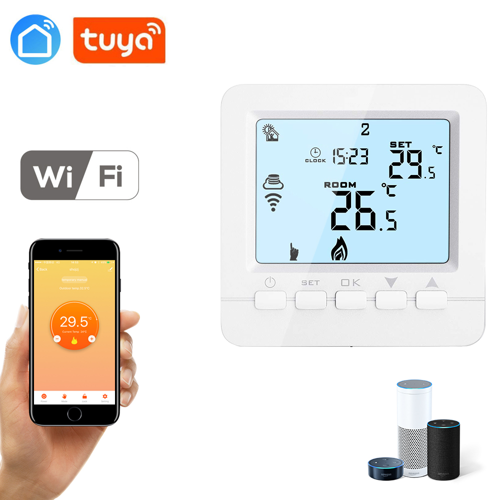 Tuya App WiFi Temperature Controller Thermostat For Electric Heating Per Week Programmable For Alexa Google House 16A