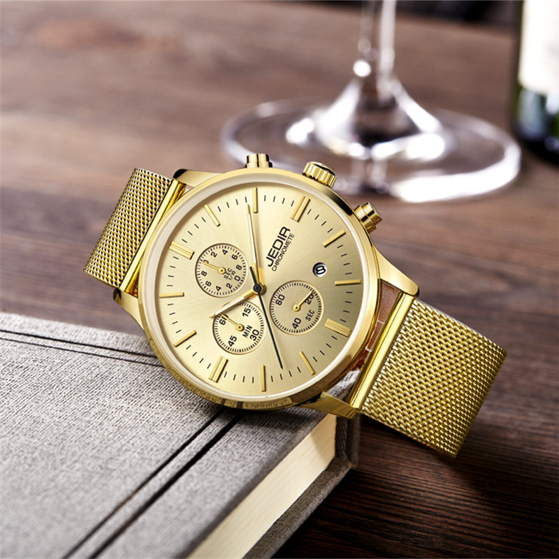 JEDIR Men Watch Fashion Mens Quartz Watches Stainless Steel Mesh Strap Waterproof Business Watch Hour for Man megir Male Watches