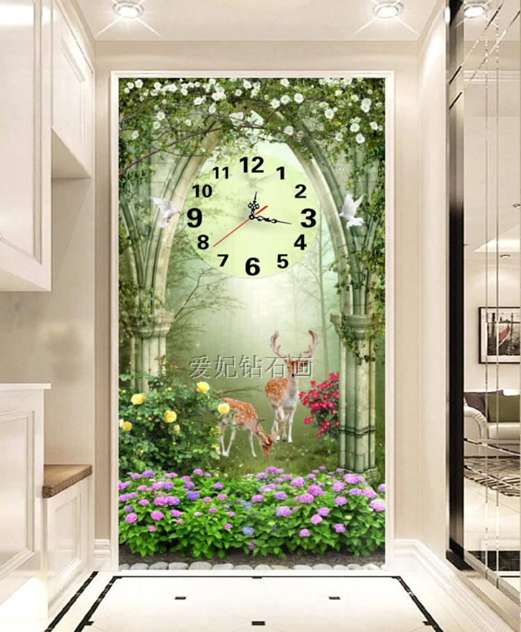 5D Square Diamond Drilling Painting, Full Paste Drilling Cross Stitch, Dream Garden, Deer, Mosaic Embroidery Wall Clock,-in Diamond Painting Cross Stitch from Home & Garden    2